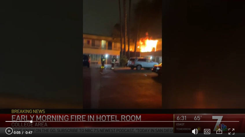 Scrrenshot of an NBC San Diego video showing a local Howard Johnson hotel on fire.